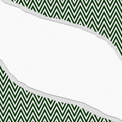 Hunter Green and White Chevron  Zigzag Frame with Torn Backgroun