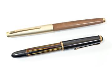 Vintage fountain pen isolated on white