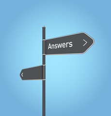 Answers nearby, dark grey road sign