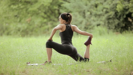 Woman exercising fitness in nature