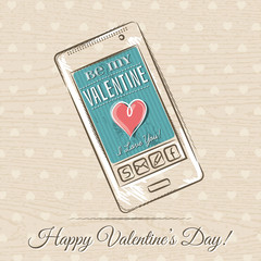 valentine card with smartphone,  vector illustration