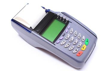 Credit card reader on white background