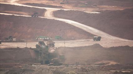Dumper truck at coal quarry