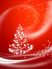 Christmas tree over red background