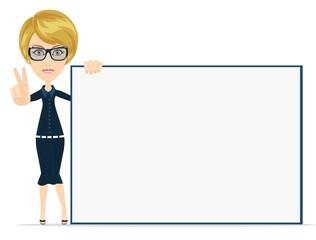 Cartoon teacher businesswoman in glasses holding large poster