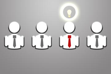 Idea bulb among 4 members