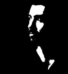 Man looking away vector portrait