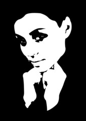 Low key high contrast young beauty woman vector