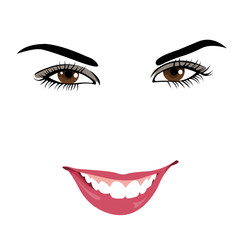 Cute woman outline vector portrait