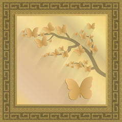 illustration: gold butterflies on a branch