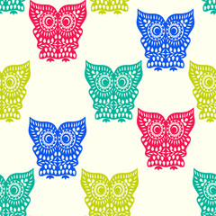 Colorful Cute Owl pattern seamless