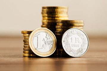 one euro coin and one swiss fran