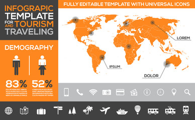 Infographic template for tourism, traveling and holidays