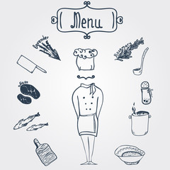 Vector hand-drawn stylish chef with dishes and menu label EPS10