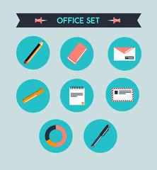 Set de iconos de oficina con boli, lapicero, goma, sobre y carta