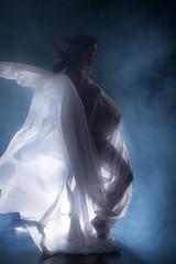 Schwangere Frau mit Babybauch im Nebel und Gegenlicht