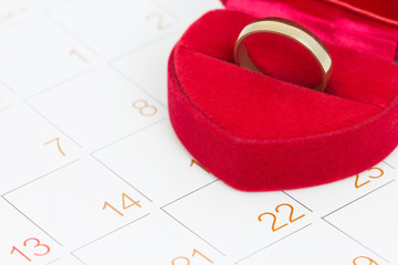 love ring on calendar