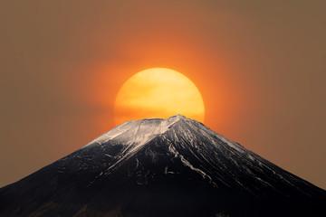 Mt.Fuji with Sun Behind