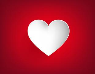 Corazón blanco aíslado en el centro de un fondo rojo. Amor