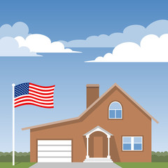 House and american flag