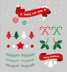 Set de navidad con árboles, nieve, campanas,estrelas y muérdago