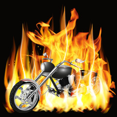 chopper with flames