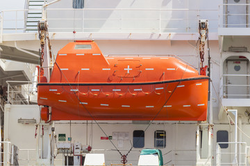 Totally enclosed lifeboat on a cargo ship