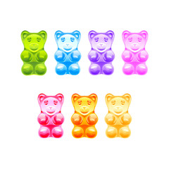 Set of bright colored gummy bears. Vector illustration