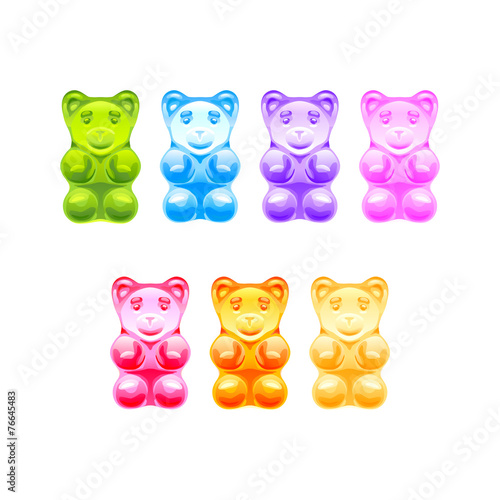 Fototapeta Set of bright colored gummy bears. Vector illustration