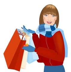 Smiling winter girl with gift bags. Holiday sales
