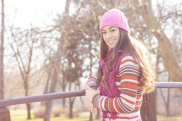 Happy Young Woman Portrait Outdoor