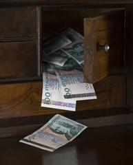Swedish money in a drawer