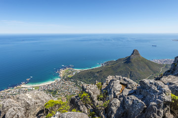 View from the flat top of Cape Town's Table Mountain.
