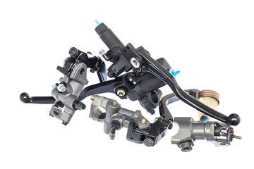 A heap of black motorcycle lever