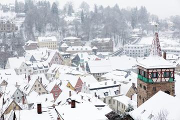 Die Stadt Kulmbach (Franken) im Winter