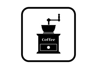 Coffee grinder icon on white background