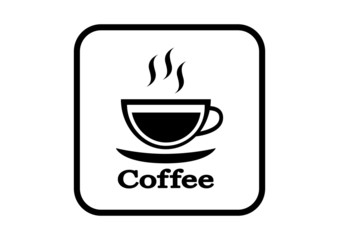 Coffee vector icon on white background
