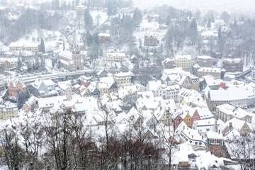 Blick auf die Stadt Kulmbach (Franken) im Winter