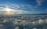 Ice hummocks on the frozen Lake Baikal