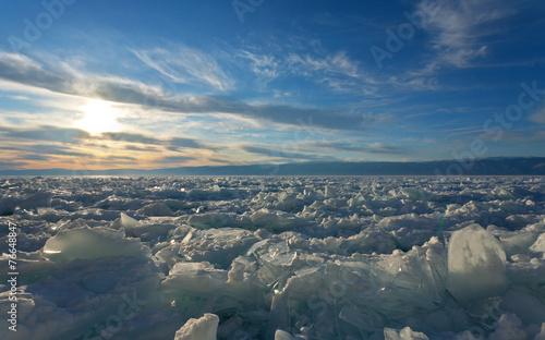 Tuinposter Gletsjers Ice hummocks on the frozen Lake Baikal