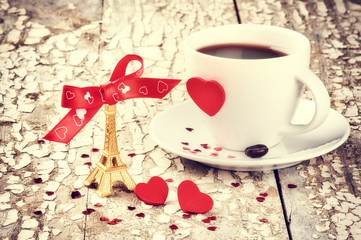 St Valentine's setting with coffee cup