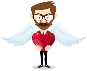 Young hipster-Man Inspired by Love Keeps the Heart. Vector
