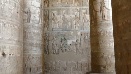 Interior of the painted and carved hypostyle hall at Dendera Tem