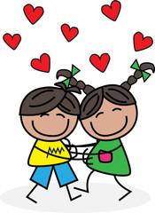 love hugs hearts
