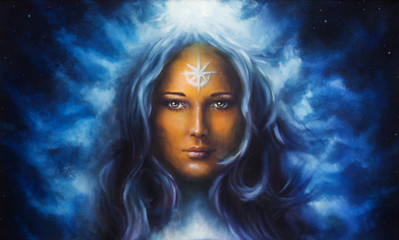 woman goddess with long blue hair holding