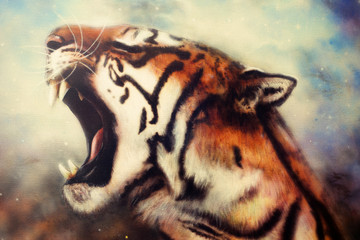 airbrush painting of a roaring tiger