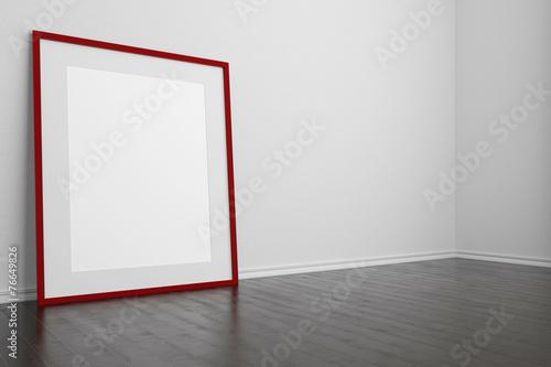 canvas print picture Roter leerer Rahmen steht auf dem Boden