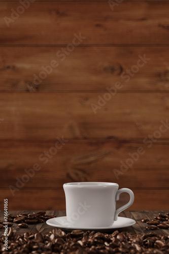canvas print picture Tasse Kaffee mit Hintergrund aus Holz