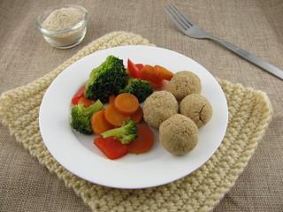 Tsampa-Bällchen mit gemischtem Gemüse