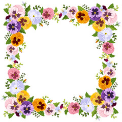 Frame with colorful pansy flowers. Vector illustration.